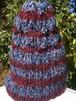 アルパカ100%の手編み帽子 赤と濃紺のボーダーにピンク、濃紺、青のミックス糸