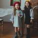 0023 送料無料 キッズ 韓国子供服 MOMOBLANC トレーナーワンピ ワンピース パフスリーブ  女の子  110cm 膝丈