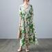【dress】売り切れ必至カジュアルVネックプリント花柄ワンピースゆったり3色 M-0331