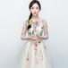 【送料無料】ひざ丈ドレス 刺繍 フラワーモチーフ 七分袖 ラウンドネック レース シフォン ホワイト 白 花 結婚式(B122)