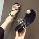 【shoes】サンダルビーズ飾り2WAY合わせやすい韓国系3色