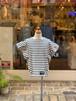 WOMENS:NEEDLEWORKS【ニードルワークス】Border Tuck T-Shirt(ブラック/S,Mサイズ)ボーダータックTシャツ