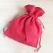 コットンリネン リボン巾着 ピンク