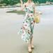 【お取り寄せ】 ビーチウェア ワンピース ドレス ボヘミアン ロング マキシ 花柄 リゾート