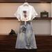 【set】超人気商品セットアップスウィートTシャツ+イレギュラーデニムスカート