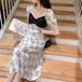 【dress】おしゃれ!ファッション切り替えパフスリーブデートワンピース M-0278