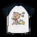 <ラグランTシャツ ホワイト×ネイビー>両面印刷 おさんぽみーちゃん