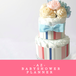 リボンが取り外せるダイパーケーキ ブルー(おむつケーキ) 出産祝、産休祝、ハーフバースデー、リネンリボン、ブーケ