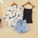 【set】一目惚れ3点セットクマプリントシャツ+キャミソール+デニムショートパンツ