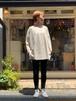 WOMENS:LE MELANGE【ル・メランジュ】ソフトジャージーコットン七分袖プリントTシャツ( BEIGE/FREEサイズ)