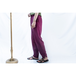 purple silk slacks