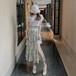 【set】おしゃれ大人気セットアップTシャツ+スリット花柄スカート優しい雰囲気