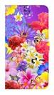 【鏡付き Lサイズ】Hawaiian Flowers Garden ハワイアンフラワーズガーデン ー Blue Violet ブルーバイオレット 手帳型スマホケース