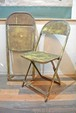 50's yellow shabby Folding 2 chairs