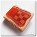 ハーフウォレット 八重山ミンサー織(赤) ヌメ革