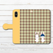 #053-011 iPhoneケース スマホケース 手帳型 全機種対応 シンプル 可愛い iPhoneXS/X Xperia iPhone5/6/6s/7/8 ケース おしゃれ Galaxy ARROWS AQUOS HUAWEI Zenfone タイトル:チェックうさぎ手帳型iPhone,Androidケース(黄) 作:Hanami