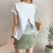 【tops】一目惚れ!バックレーススリットオシャレTシャツ2色