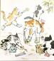 西村欣魚 色紙「猫の栗拾い」