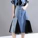 異素材 デニムスカート プリーツスカート 韓国ファッション レディース スカート デニム レース ハイウエスト 大人カジュアル 大人可愛い ガーリー 621341607056