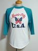 1990's Music City U.S.A. ラグランTシャツ 星条旗 ターコイズ×白 表記(S)