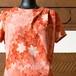 茜色紅葉柄縮緬 ドレープアシメトリードレス
