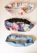 【下】ターバン ヘアバンド (オーガニックコットン)刺繍ライトブルー