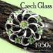 爽やかな アップルグリーン☆ ラインストーン オープンワーク フラワー ヴィンテージ ブローチ 1950s チェコガラス