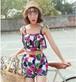 【送料無料】タンキニ 花柄 セパレート フリル 3点セット 体型カバー バストアップ効果 サーフパンツ リゾート 夏 海 ビーチ プール 水着