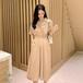 【dress】絶対欲しい高級感 シンプル無地チュニックデートワンピースゆったり4色