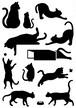 猫のポーズ・シルエット ステッカー・シール 光沢タイプ・耐水・屋外耐候3~4年