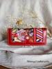 new✴︎長財布✴︎ 80sヴィンテージスカーフ×淡水パールビーズ刺繍 ルビーカラー レトロ花柄