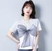 【tops】絶対欲しいファッションリボン切り替えTシャツゆったり人気デザイン