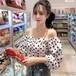 【トップス】オシャレ新品ドット柄パフスリーブスウィート2色ブラウス27166827