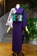 グラースオリジナル単衣着物 ペイズリー片身変わり小紋 紫
