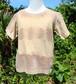 草木染、ベンガラ染め、絞り染め、シマシマ綿Tシャツ 子供用100サイズ