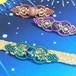 天然石のマクラメ編み帯留/クリオネ(ライトブルー系×アパタイト)