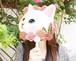 【クリックポスト対応】夏のマストアイテム choochoo うちわ ピンクローズ 白猫 ねこのもり