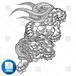 【png画像素材】唐獅子6 Mサイズ  横1217px × 縦1500px