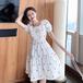 【dress】定番シンプルカジュアルスクエアネックデートワンピースゆったり2色