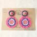 モン族刺繍ワッペンのピアス ピンク フリンジ ビーズ刺繍 ビンテージ アンティーク エスニック アクセサリー moi-002