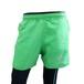 【DOUBLE3(ダブルスリー / ダブル3)】 レディース DW-5490 GREEN 5インチ ランニングキュロットパンツ グリーン マルチ水玉切り替え / バックポケット、ドローコード付き
