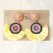 モン族刺繍ワッペンのイヤリング イエロー フリンジ ビーズ刺繍 ビンテージ アンティーク エスニック アクセサリー moi-003