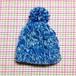 コプエル帽子:縄編みポンポン帽(青+白)