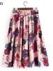 elastic waist sweet floral skirt streetwear 606