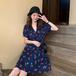 【dress】気質満点大人可愛い Vネックスウィートチェリー花柄ワンピースゆったり2色