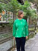 WOMENS:LILOU+LILY【リルアンドリリー】MIGRATORY BIRD  PULLOVER SHIRTS(グリーン/ワンサイズ38のみ)渡り鳥刺繍プルオーバーシャツ