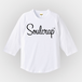 『Soulcrap』筆記体ロゴ ラグラン(3/4スリーブTシャツ) (white)