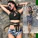 【送料無料】背中可愛い バッククロス 3点セット パレオ付き ハイネック ビキニ リゾート 夏 海 ビーチ プール