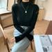 ジェントル シンプル 上品 カジュアル コージー 厚手 着回し力抜群 韓国ファッション   ニット・セーター・トップス