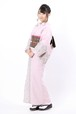 グラースオリジナル着物 ボーダーレース 刺繍 ピンク 仕立て上がり 綿100% 5営業日以内発送